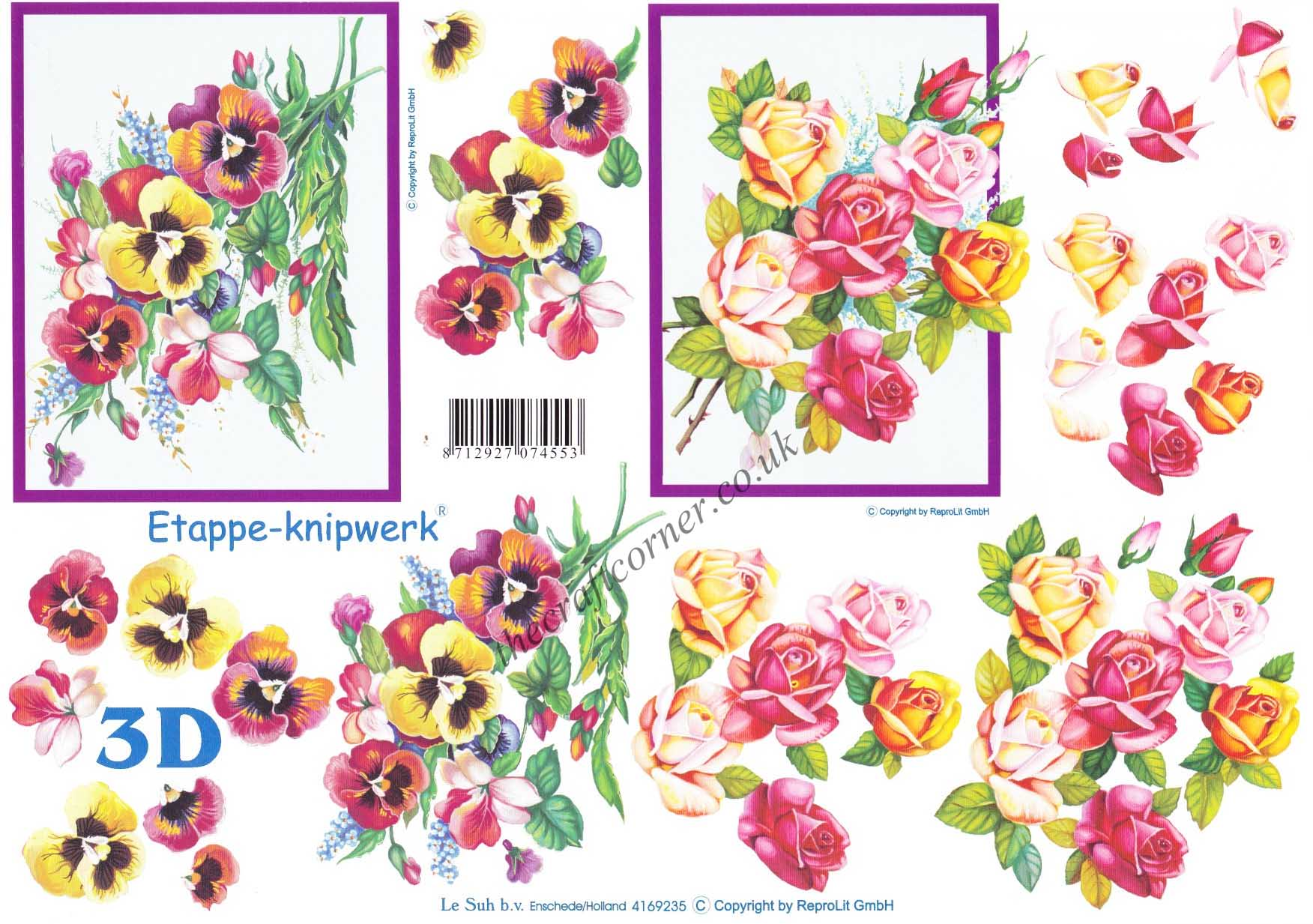 Pansy Amp Rose Bouquets 3d Decoupage Sheet