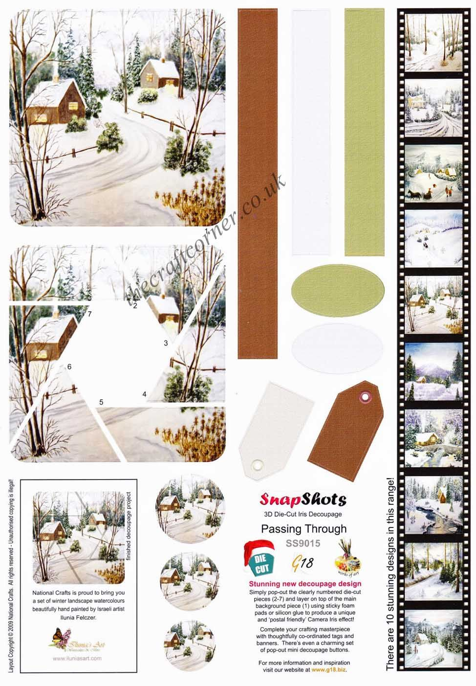 Winter cabin border die cuts for cards or scrapbook 6 pieces