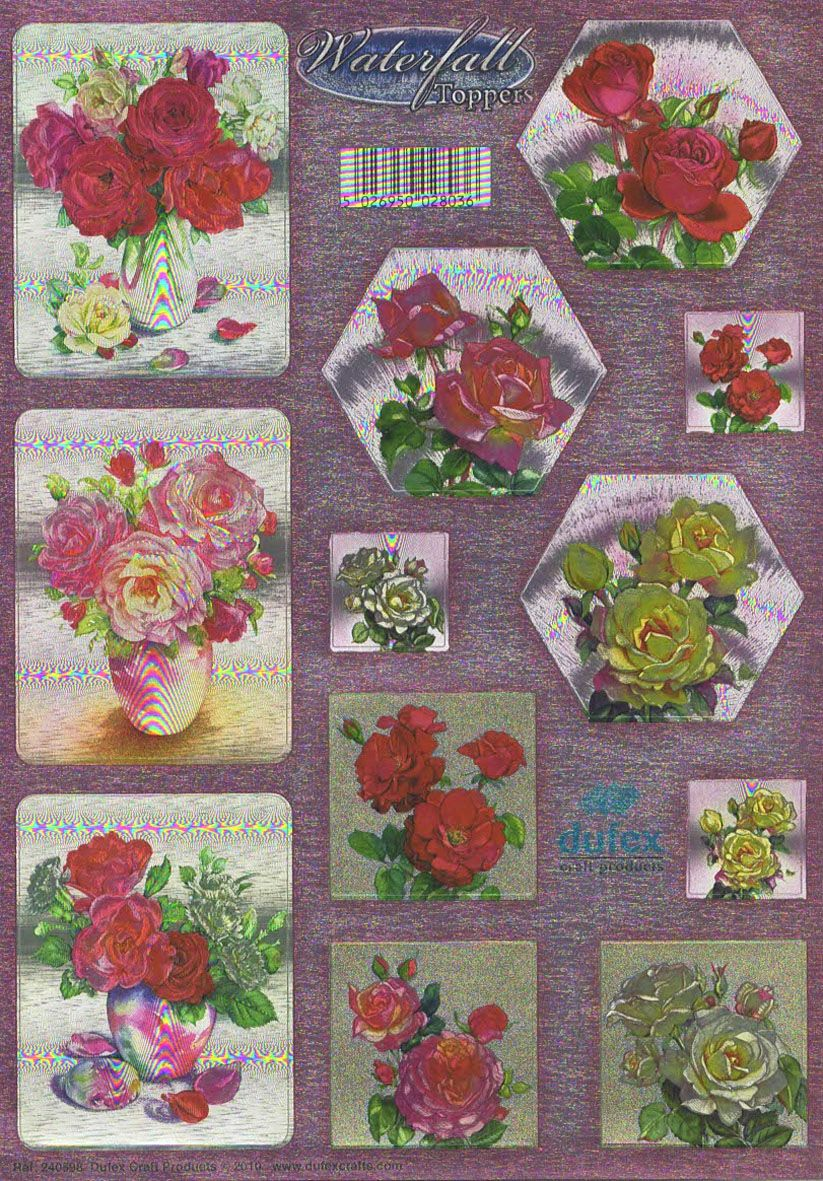 Roses In Vases Die Cut Waterfall Toppers From Dufex