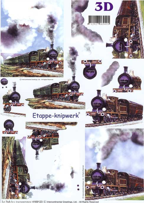 Steam Trains 3d Decoupage Craft Sheet